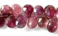 Бусина огранённая форма лепесток, камень-турмалин натуральный, цвет-малиновый (2 тона),