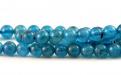 Ниточка бусин круглых,камень натуральный-апатит,цвет-неоднородный сине-голубой теплый, сочный, красивая структура камня,