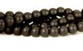 Бусина–шунгит черный, гладкий, матовый (имитация), цвет-угольно-черный матовый, размер–6.2 мм