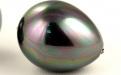 Майорика-имитация жемчуга,крупнаябусина формы бриолета. Цвет-темно-серый с легким зеленовато-голубым переливом,