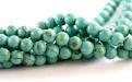 Бусины круглые полированные, камень натуральный говлит тонированный (имитация бирюзы), диаметр 6.5 (+-0,3) мм.