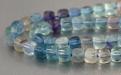 Нить бусин огранённых, форма-кубик, камень натуральный-флюоритцвет-микс (голубой, зеленый, сиреневый)прозрачный . Р