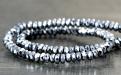 Бусины ограненные рондели, камень–гематит натуральный, ограненный.Цвет-серебро с хорошей игрой граней серебряным блеском