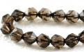 Бусина-огранённый ромб, камень натуральный камень-раух топазцвет-дымчато-коричневый, прозрачный..