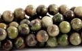 Бусины круглые гладкие, камень–яшма натуральная., Размер-8 мм., вн. отв. 0,6 мм., цвет микс-приглушенные: зеленый, серый.