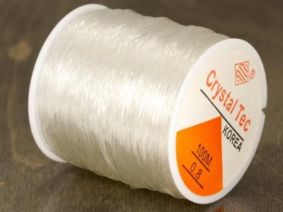 Резинка, эластичная нить силиконовая-это нить резинка для браслетов прозрачная 0.8 мм. для создания украшений, чаще браслетов.