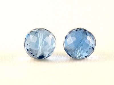 Бусина круглая огранённая, камень - шпинель (искусственновыращенная), цвет-тёплый голубой, прозрачный. ф