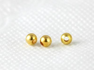 Бусина позолоченная из стерлингового серебра,форма шарик, размер-3 мм. вн. отв. 1.1 мм.для изготовления украшенийHandmade