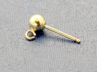 Товар-гвоздик Gold Filled с шариком 4 мм и колечком (2,56 мм.х 0,6 мм.) для изготовления серег, материал-латунь с покрытием Gold Filled (24 kr золота).