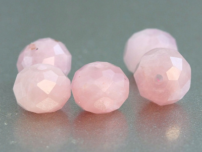 Бусина огранённая, форма рондель, камень натуральный-розовый кварц, цвет- нежный розовый,