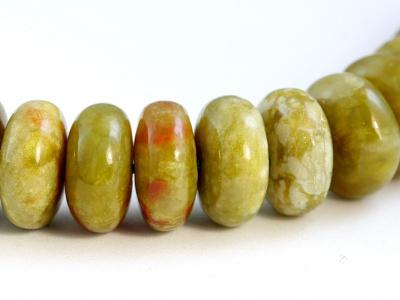 Бусина рондель гладкая, камень натуральный-хризопал (празопал, зелёный опал), цвет- тёплый зелёный с янтарным оттенком,