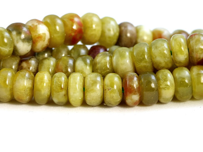 камень натуральный-хризопал (празопал, зелёный опал), бусина рондель гладкая,