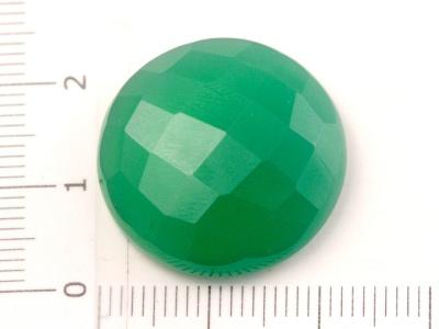 Кабошон круглый гранёный, из зелёного хризопраза, для изготовления кулонов в украшениях Handmade.