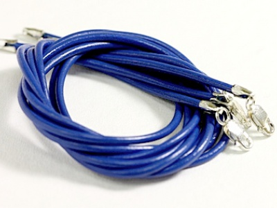 Кожаный шнурок с замком 925 пр. (цв. синий)