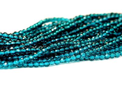 Нить бусин, форма-шарик круглый, иск. выращенный камень-шпинель прозрачная, цвет изумрудно-голубой чистый.