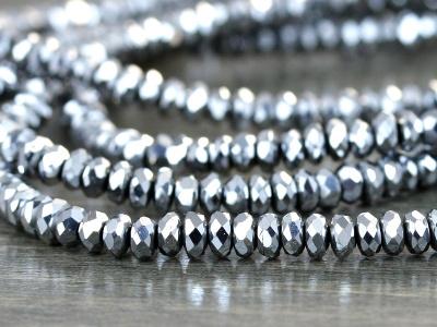 нить ограненных бусин ронделей, камень–гематит с хорошей игрой граней серебряным блеском