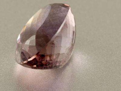 Вставка огранённая крупная, форма квадрат, натуральный камень-аметрин (аметист и цитрин в одном кристалле),